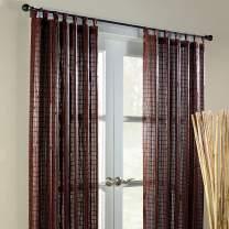BrylaneHome Bamboo Tab-Top Panel Curtain Window Drape - 42I W 63I L, Mahogany Brown