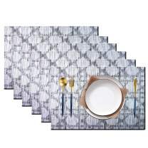 pigchcy Beehive Placemats Set of 6, Plastic Placemats Heat-Resistant Non-Slip Vinyl Table Mats Washable Easy to Clean Placemat for Dining Table (Black)