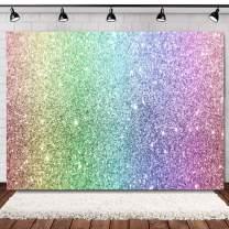WOLADA 7x5ft Rainbow Glitter Bokeh Birthday Backdrop Glint Spots Sand Scale Halo Still Life Dreamy Baby Kids Girl Birthday Party Shower Photography Backdrop Cake Table Banner Photo Studio Props 11600