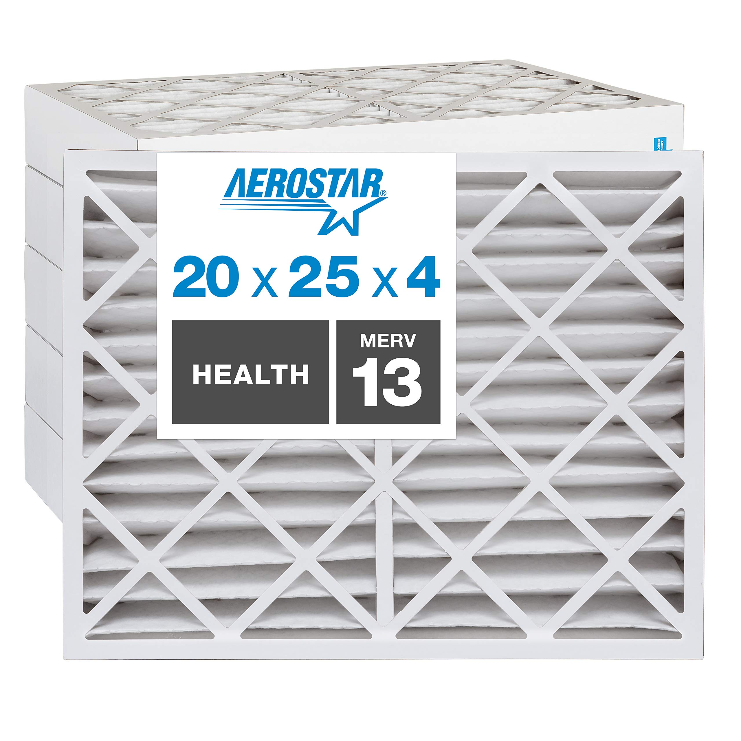 """Aerostar Home Max 20x25x4 MERV 13 Pleated Air Filter, Made in the USA, Captures Virus Particles, (Actual Size: 19 1/2""""x24 1/2""""x3 3/4""""), 6-Pack"""
