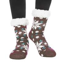 Womens Fuzzy Slipper Socks Warm Thick Fleece Lined Christmas Stockings Fluffy Heavy Winter Socks