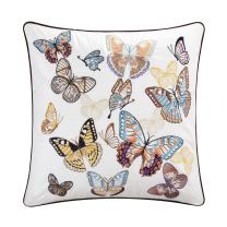 """Casabolaj Fiarady Collection 1piece White Butterfly Embroidery Cushion Cover -100% Egyptian Cotton - 18""""x 18"""" Decorative Throw Pillow Case Cover only - Hidden YKK zipper Contrasting color piping"""