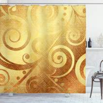 """Ambesonne Modern Shower Curtain, Vector Canvas Design Floral Swirls Leaves Spring Nature Inspired Image, Cloth Fabric Bathroom Decor Set with Hooks, 84"""" Long Extra, Yellow Gold"""