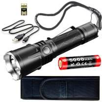 klarus XT21X Super Bundle Includes 4000 Lumen Tactical Flashlight, 21700 Li-Ion Battery, Holster, USB Charge Cable, Lanyard, and Mini USB Light