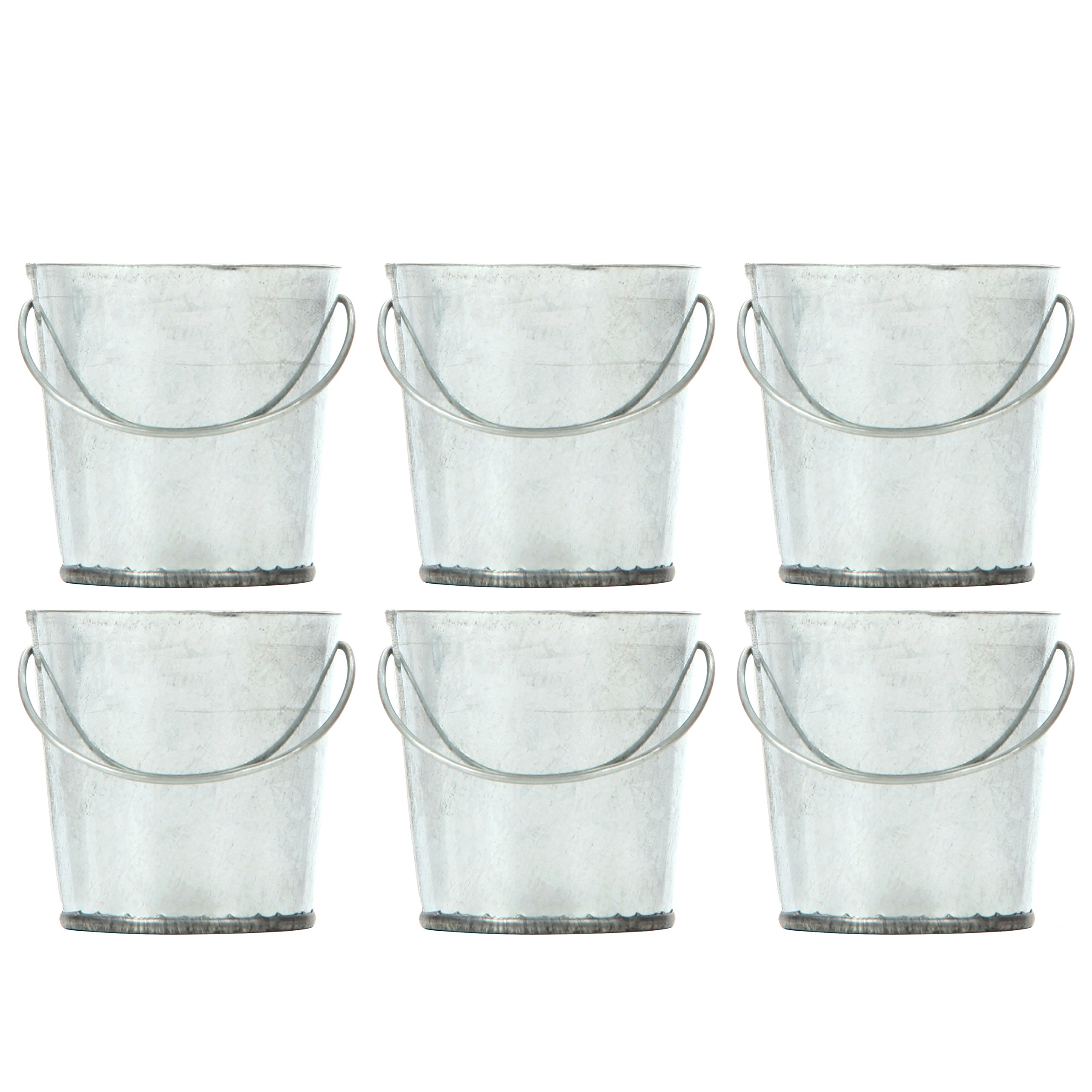 Hosley Set of 6 Mini Galvanized Buckets 2.25 Inches High Ideal for Do it Yourself Craft and Floral Projects Party Favors Festivities Weddings O4