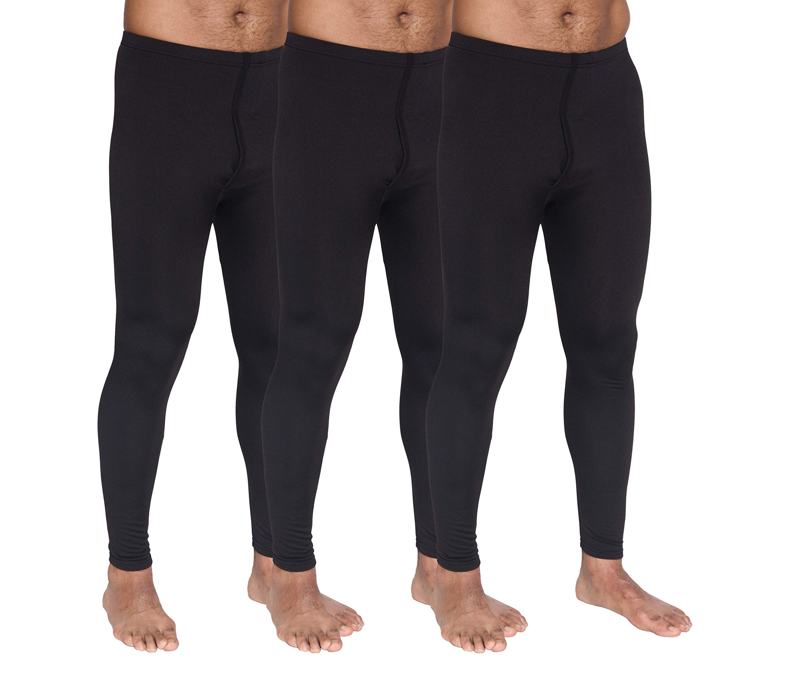 Real Essentials 3 Pack: Men's Thermal Underwear Base Layer Fleece Lined Compression Pants with Functional Fly