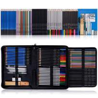 K Kwokker 72Pcs Drawing Sketch Pencils 5 Types Charcoal/Graphite/Watercolor/Metallic/Colored Pencil for Sketching Painting Coloring w/Blender Stumps, Eraser, School Supply Professional Marker Kit