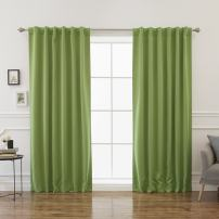 """Best Home Fashion Closeout Premium Blackout Curtain Panels - Solid Thermal Insulated Window Treatment Blackout for Bedroom - Back Tab & Rod Pocket – Green - 52"""" W x 120"""" L - (Set of 2 Panels)"""