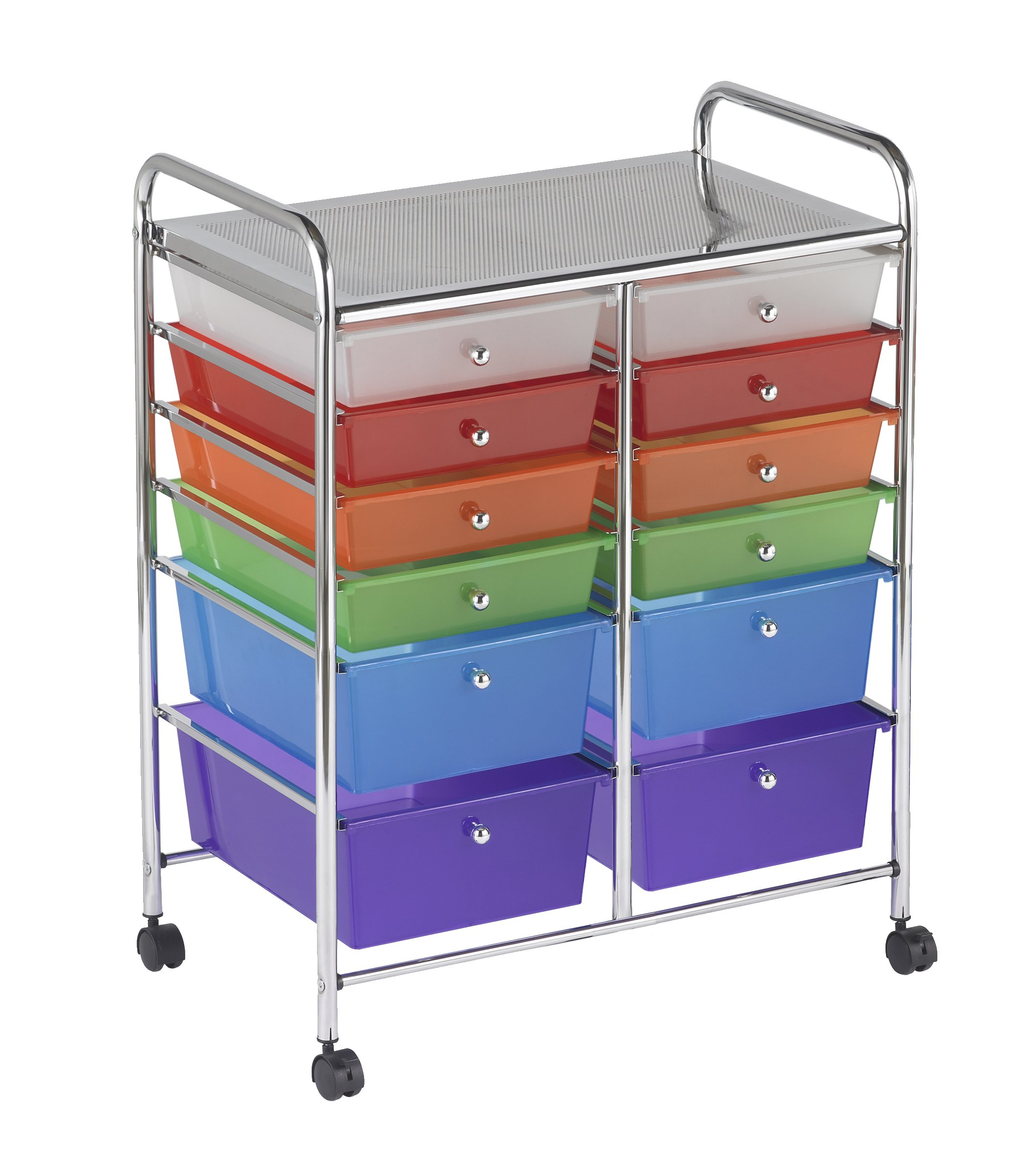 """ECR4Kids ELR-20104-AS 12-Drawer Mobile Organizer, 31.75"""" H, Assorted Colors"""