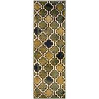 """Superior Modern Viking Collection Area Rug, 10mm Pile Height with Jute Backing, Chic Textured Geometric Trellis Pattern, Anti-Static, Water-Repellent Rugs - Green, 2'7"""" x 8' Runner"""