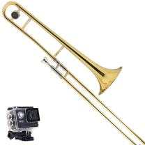 Kaizer Trombone B Flat Bb Gold Lacquer Includes Case Mouthpiece and Accessories TBNE-1000LQ