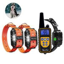 Whizzotech Dog Shock Training Collar Rechargeable Waterproof 875 Yards Remote Control E-Collar