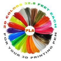 i-CHONY 3D Pen Filament Refills PLA 1.75 mm - 3D Printing Pen Filament 20 Different Colors 32.8 Feet Each for 3D Printer Pen (656 Feet Total)