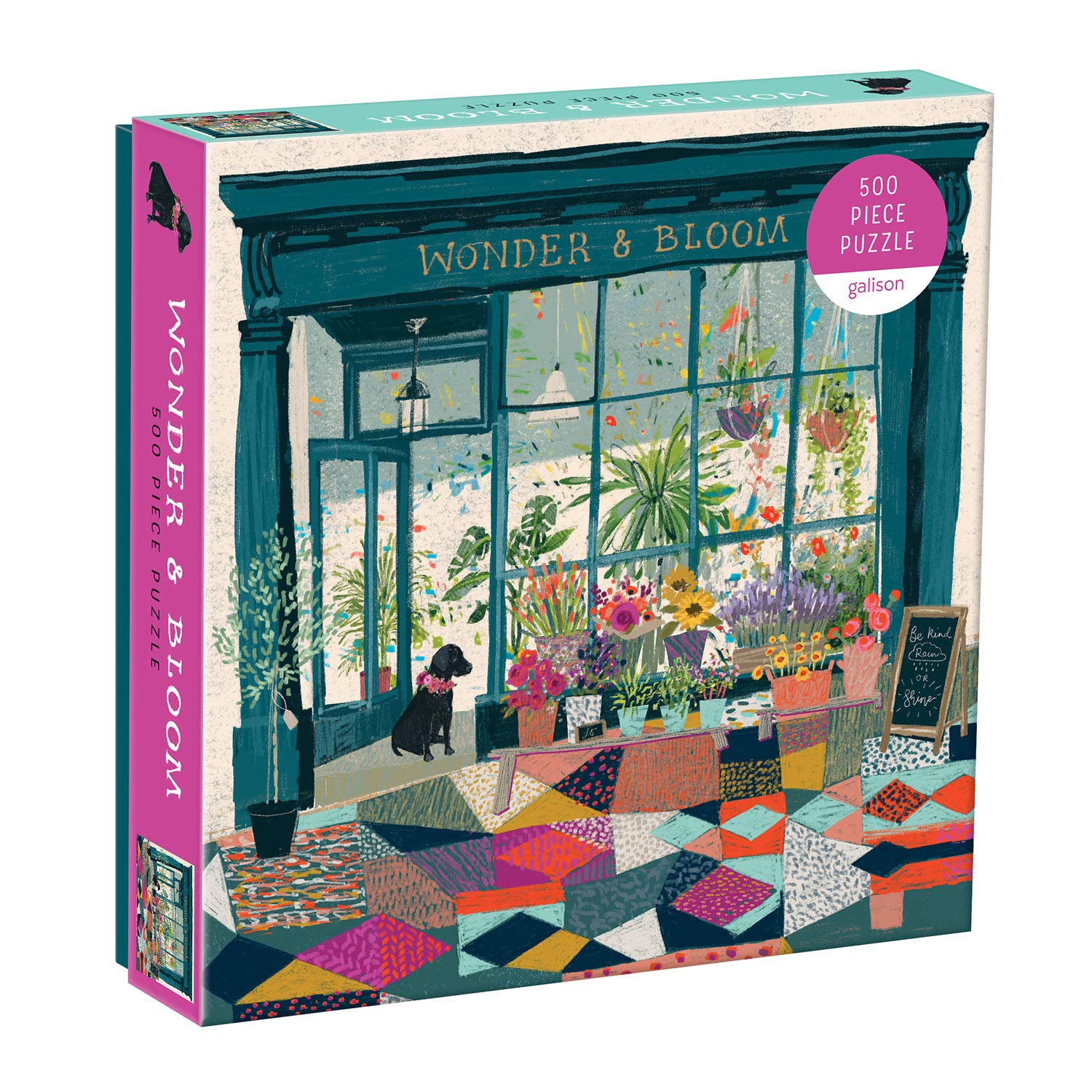 "Galison Wonder & Bloom Puzzle, 500 Pieces, 20""x20"" – Brightly Colored Scene of a Welcoming Local Plant Shop – Challenging, Perfect for Family Fun, Multicolor"