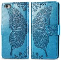 iPhone 6 Wallet Case for Women,iPhone 6S Case with Card Holder,Auker Shockproof Butterfly Embossed Leather Flip Magnetic Slim Wallet Case Full Body Protective Purse W/Money Pocket/Kickstand (Blue)