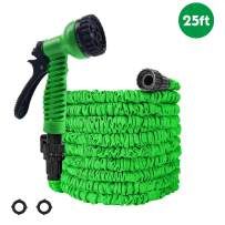 OUTFANDIA Garden Hose, Water Hose, 25FT Expandable Garden Water Hose, Double Latex Core - Extra Strength Fabric Protection - 7 Functions Spray Nozzle, Collapsible Hose for Flowers and Plants