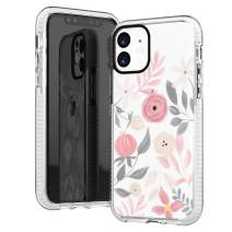 iPhone 11 Clear Case,Cute Elegant Painting Style Pink Grey Floral Flowers Roses Daisy Spring Simple Trendy Hipster Case for Girls Women Soft Protective Clear Case with Design Compatible for iPhone 11
