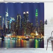 """Ambesonne New York Shower Curtain, NYC Midtown Skyline in Evening Skyscrapers Metropolis City States Photo, Cloth Fabric Bathroom Decor Set with Hooks, 84"""" Long Extra, Royal Blue"""