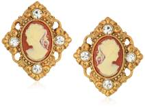 1928 Jewelry Women's 14K Gold-Dipped Cameo and Crystal Accent Clip Earrings, Orange, One Size