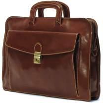 Floto Luggage Milano Leather Laptop Sleeve, Brown, Medium