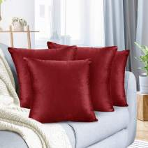 "Nestl Bedding Throw Pillow Cover 22"" x 22"" Soft Square Decorative Throw Pillow Covers Cozy Velvet Cushion Case for Sofa Couch Bedroom, Set of 4, Cherry Red"