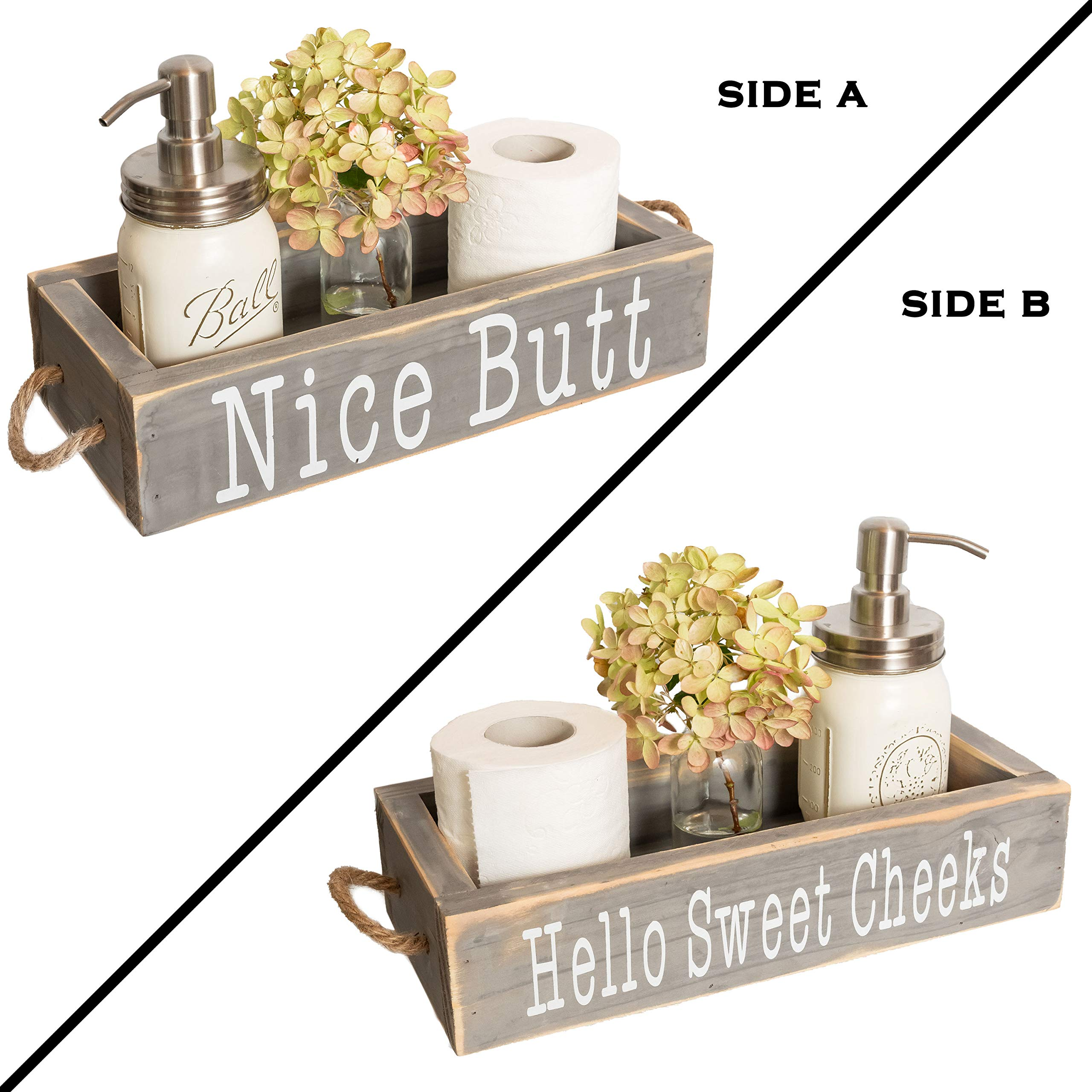 Nice Butt Bathroom Decor Box, 2 Sides with Funny Sayings - Funny Toilet Paper Holder Perfect for Farmhouse Bathroom Decor, Toilet Paper Storage, Rustic Bathroom Decor, or Diaper Organizer (Grey)