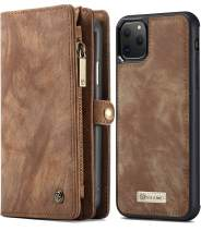 iPhone 11 Pro Max Wallet Case, iPhone 11 Pro Max Detachable Slim Cover, 6.5Inch, XRPow 2 in 1 Premium Leather Folio Magnetic Wallet Credit Card Slot Shock Protection Removable Carrying Cover Brown