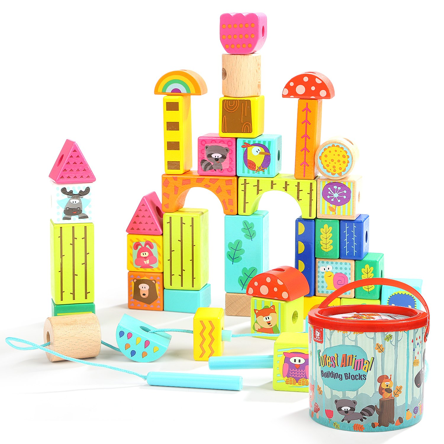 TOP BRIGHT Wooden Building Blocks Set, Educational Toys Gifts for 2 3 Year Old Boys Girls, Colored Animal Blocks Lacing Beads, 38 Pieces