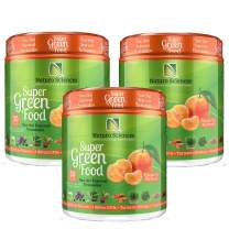 100% Natural Greens Powder, Over 10 Hard to Get Superfoods, Greens Supplement Powder 1 Month's Supply, Green Organic Blend with 1 Billion CFU Probiotics and 500mg Turmeric, Tangerine Flavor, 3 Pack