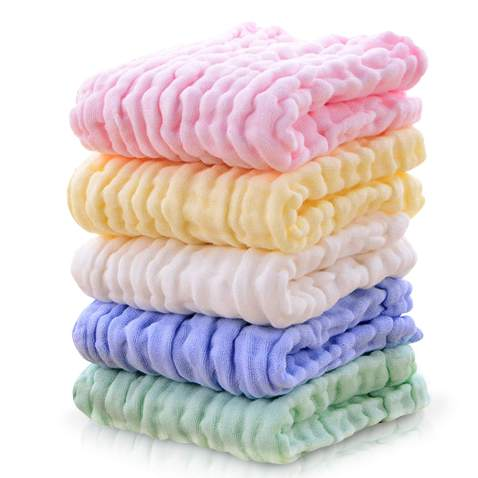 Premium Baby Washcloths and Towels for Sensitive Skin, 100% Organic Cotton Muslin Baby Burp Cloths, Baby Shower Towels, 5 Pack 10 x 20 inch,6 Layers Extra Absorbent Organic Cloth Diapers