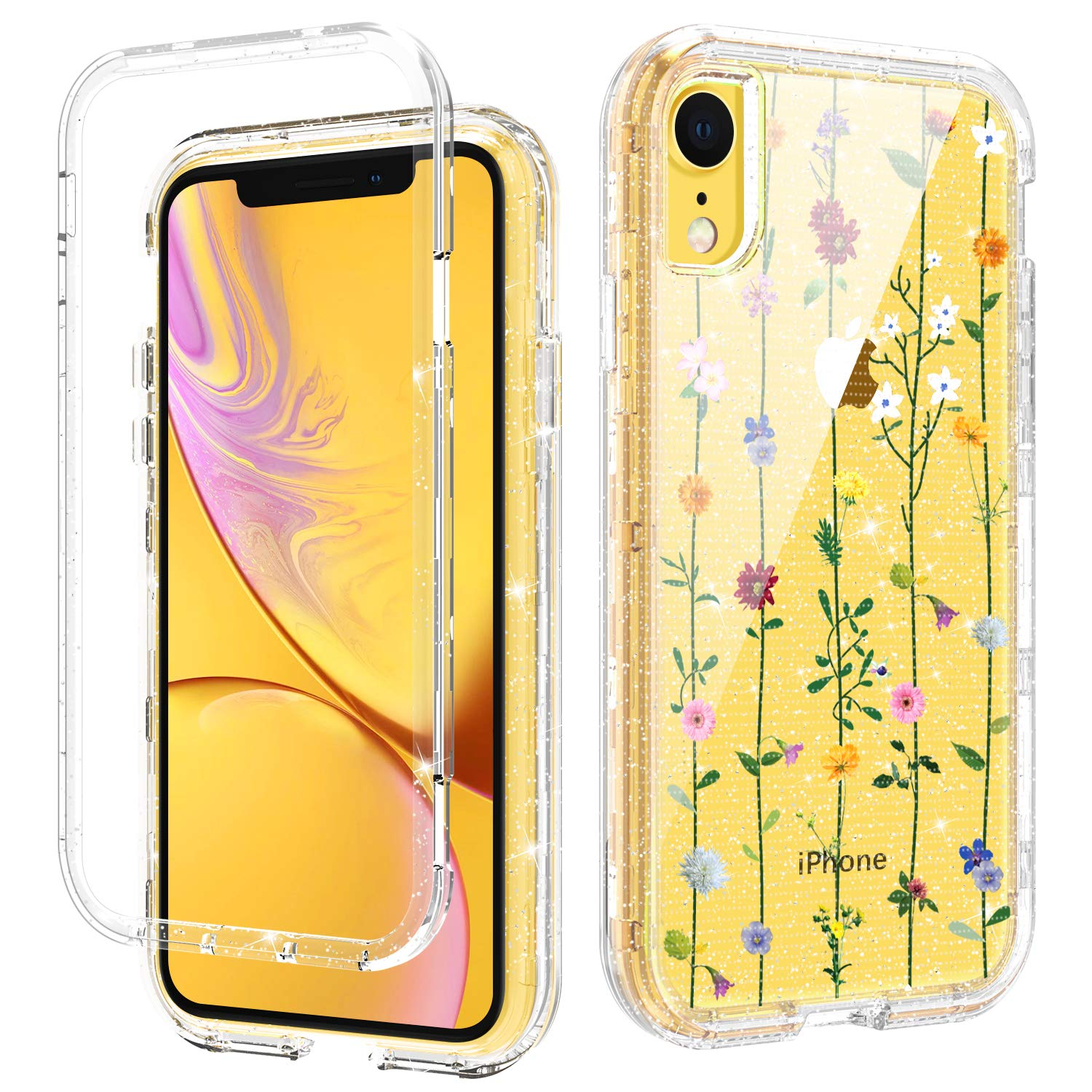 DOMAVER iPhone XR Case Floral, Clear iPhone XR Cases with Sparkle Wildflower for Girls Women 3 in 1 Hybrid Transparent Hard PC Flexible Rubber Cover Shockproof Protective Phone Cases, Flower String