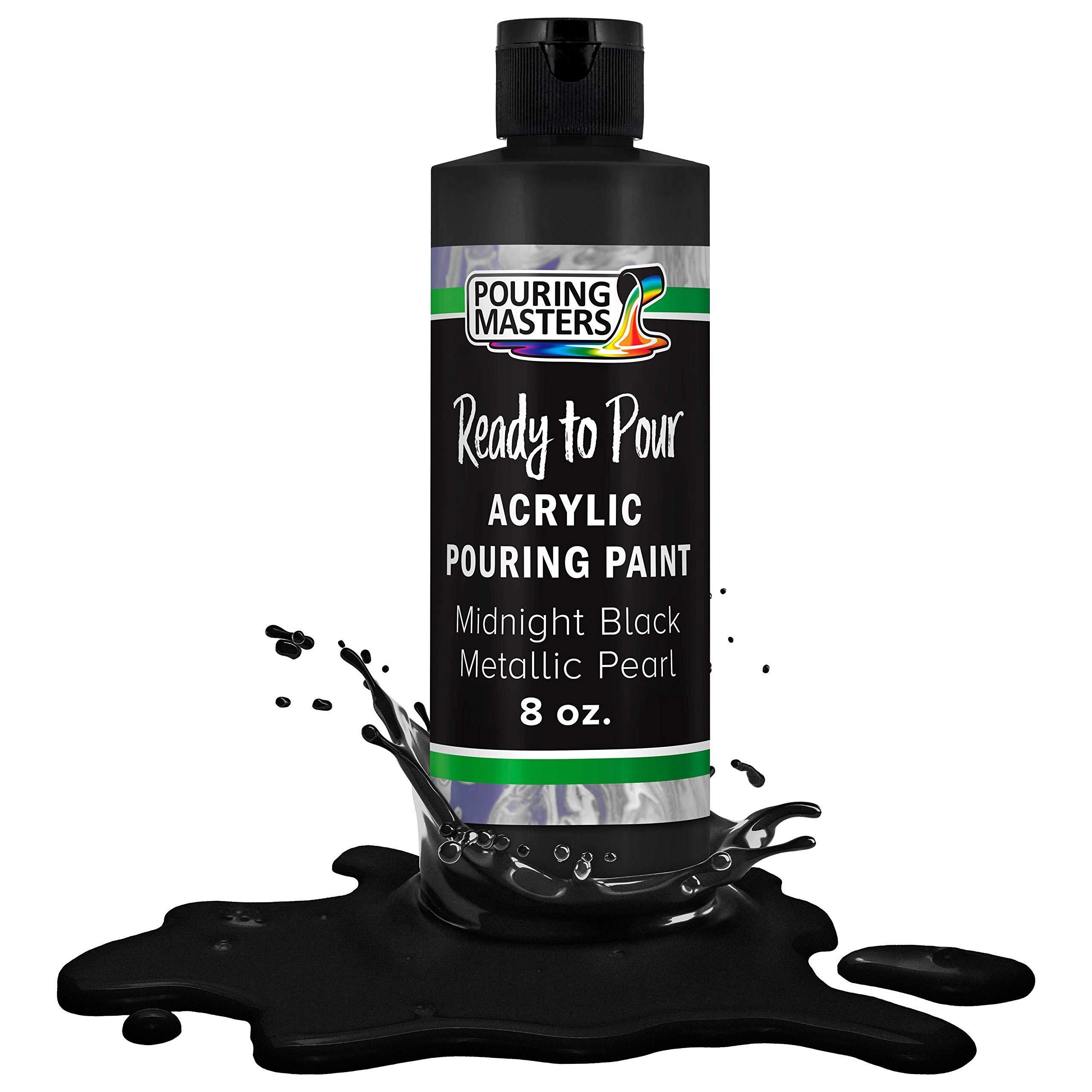 Pouring Masters Midnight Black Metallic Pearl Acrylic Ready to Pour Pouring Paint – Premium 8-Ounce Pre-Mixed Water-Based - for Canvas, Wood, Paper, Crafts, Tile, Rocks and More