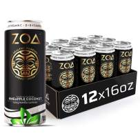 ZOA, 100 Calorie Energy Drink, Pineapple Coconut, 16 fl. oz. (Pack of 12) - Supports Healthy Immunity, Focus, Hydration, Body & Energy - 100% DV Vitamins C, B6 & B12