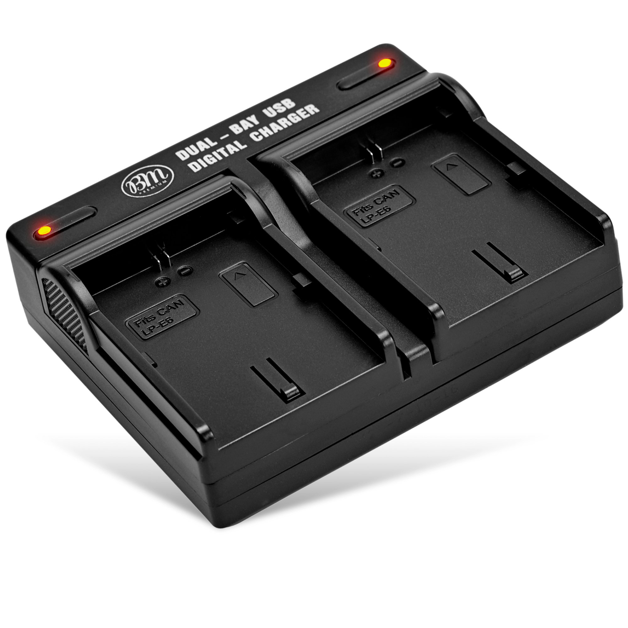 BM LP-E6, LP-E6N Dual Bay Battery Charger for Canon EOS R, EOS 90D, EOS 60D, EOS 70D, EOS 80D, EOS 5D II, EOS 5D III, EOS 5D IV, EOS 5Ds, EOS 6D, EOS 6D II, EOS 7D, EOS 7D II, C700, XC10, XC15 Cameras