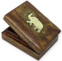 SKAVIJ Wooden Playing Card Box for 1 Deck Elephant Shape Easter Decorative Case (Brown)