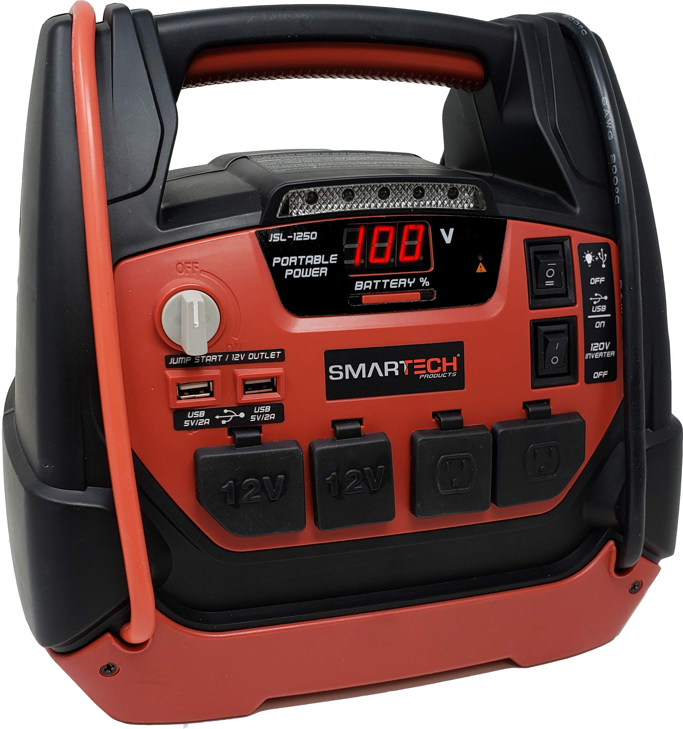 """Smartech JSL-1250 Power Station with Jump Starter & 150 PSI Air Compressor, 1250 Amp Starting Power, Two AC & Two DC Plug-Ins for 12V & 120V, Two USB Ports, 24"""" Jumper Cables, Built-In LED Work Light"""