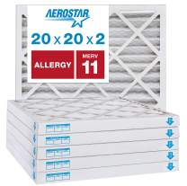 """Aerostar Allergen & Pet Dander 20x20x2 MERV 11 Pleated Air Filter, Made in the USA, (Actual Size: 19 1/2""""x19 1/2""""x1 3/4""""), 6-Pack"""