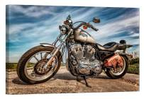 LightFairy Wall Art for Living Room - Glow in The Dark Canvas Painting - Stretched and Framed Giclee Print - Harley Davidson Sportster 883 - Wall Decorations for Bedroom - 24 x 16 inch