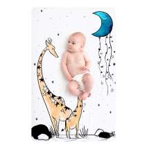 JumpOff Jo – Fitted Mini Crib Sheet (24 x 38 x 5 Inches) - Fits Portable Crib, Playard, and Playpen Mattresses and Mats - Soft 100% Cotton – Giraffe & A Calf