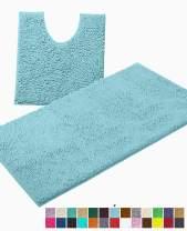 LuxUrux Bathroom Rugs Luxury Chenille 2-Piece Bath Mat Set, Soft Plush Anti-Slip Bath Rug +Toilet Mat.1'' Microfiber Shaggy Carpet, Super Absorbent Machine Washable Mats (Curved Set Large, Spa Blue)