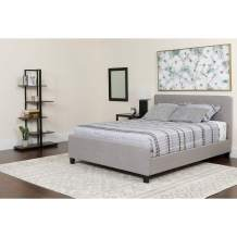 Flash Furniture Tribeca King Size Tufted Upholstered Platform Bed in Light Gray Fabric with Pocket Spring Mattress