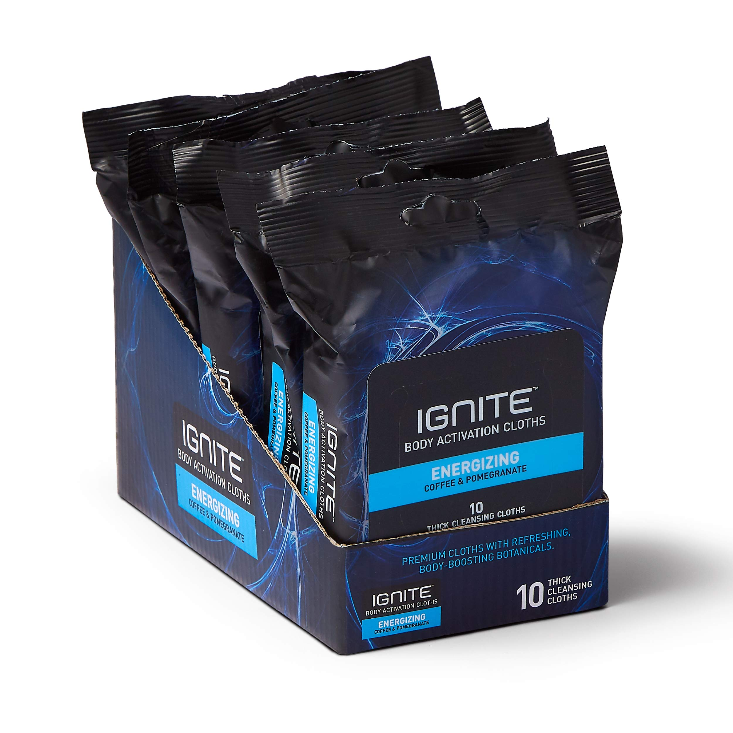 Medline Ignite Mens Body Wipes, Shower Wipes with Bold Energizing Scent, 5 Packs of 10 Wipes, Great for After Gym Wipes, Camping Wipes, Travel Wipes, Extra Thick 8 x 8 inch Wipes, IGNITE001Z