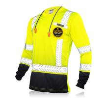 KwikSafety (Charlotte, NC) MECHANIC Long Sleeve (w/POCKET & Black Trim) Class 3 ANSI High Visibility Safety Shirt Fishbone Reflective Tape Construction Security Hi Vis Clothing Men | Yellow X-Large
