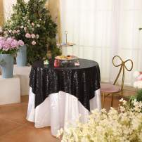 """Eternal Beauty Black Square Sequin Tablecloth Sequin Overlay Tablecloth for Wedding Christmas Party 48""""x48"""""""