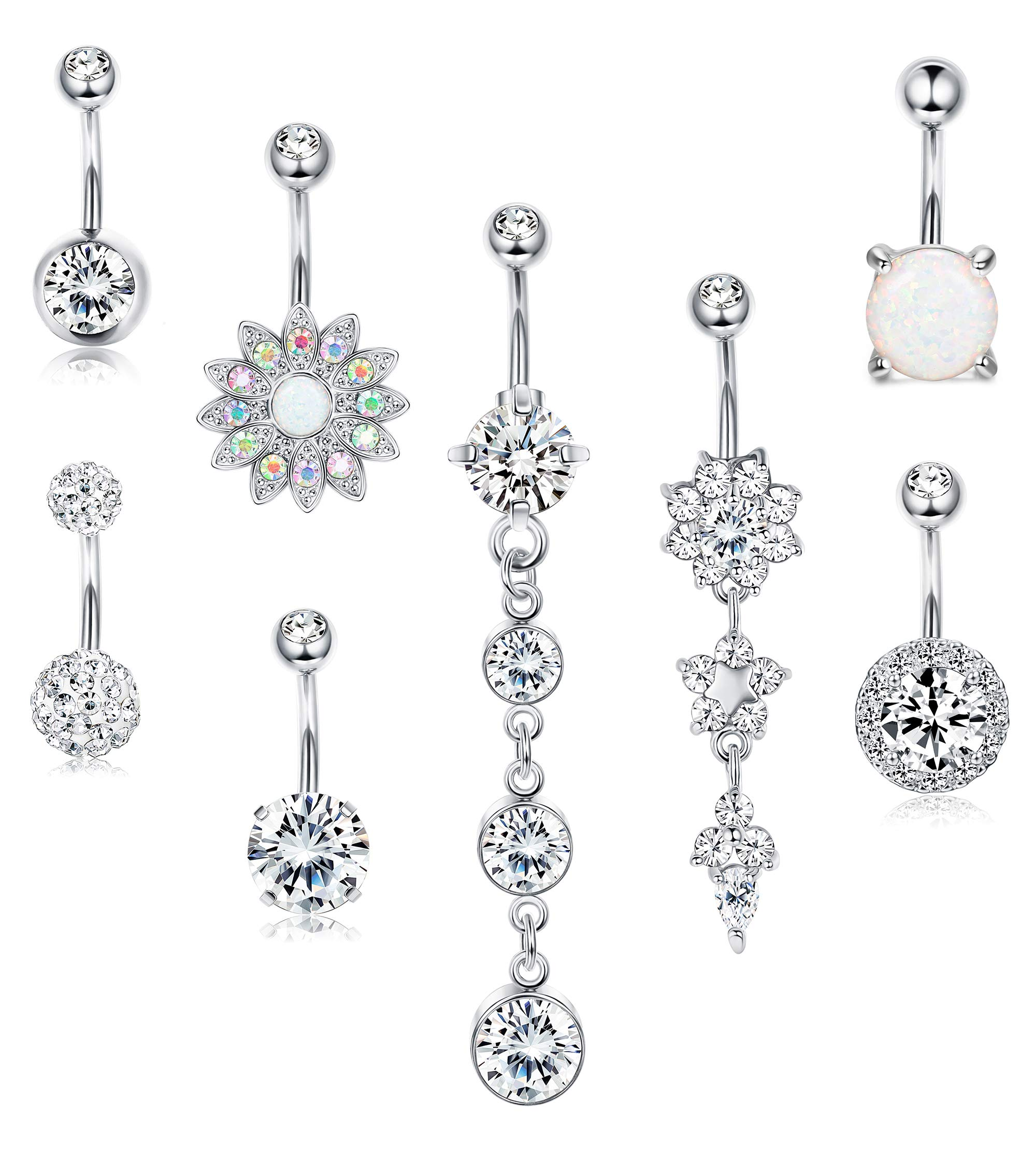 LOYALLOOK 8PCS 14G Surgical Steel Belly Button Rings Dangle for Women Girls Navel Rings Opal Flower CZ Body Piercing Silver Rose Gold Tone