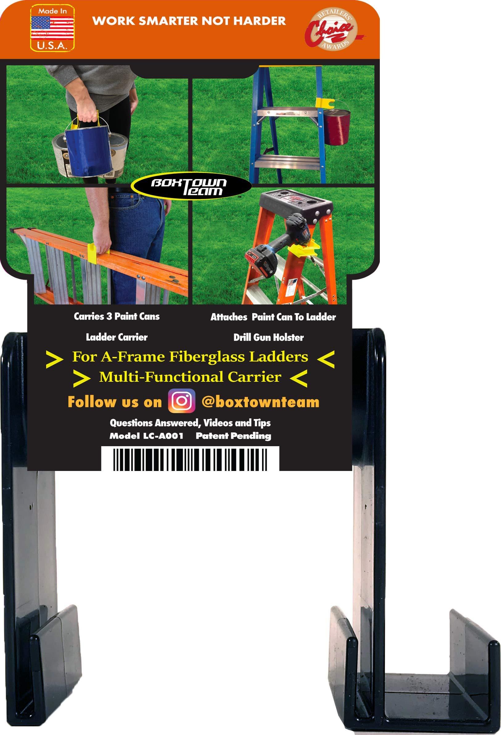 Boxtown Team Ladder Carrier (Black), Ladder Handle, Ladder Accessories, Little Giant Handle, Drill Gun Holster, Ladder Paint can Holder, Multipurpose Tool, Multi Function Tool