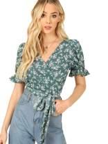 SheIn Women's V Neck Short Sleeve Self Tie Wrap Floral Crop Tops Blouse