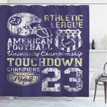 "Ambesonne Sports Shower Curtain, Retro Style American Football College Theme Illustration Athletic Championship Apparel, Cloth Fabric Bathroom Decor Set with Hooks, 75"" Long, Purple"