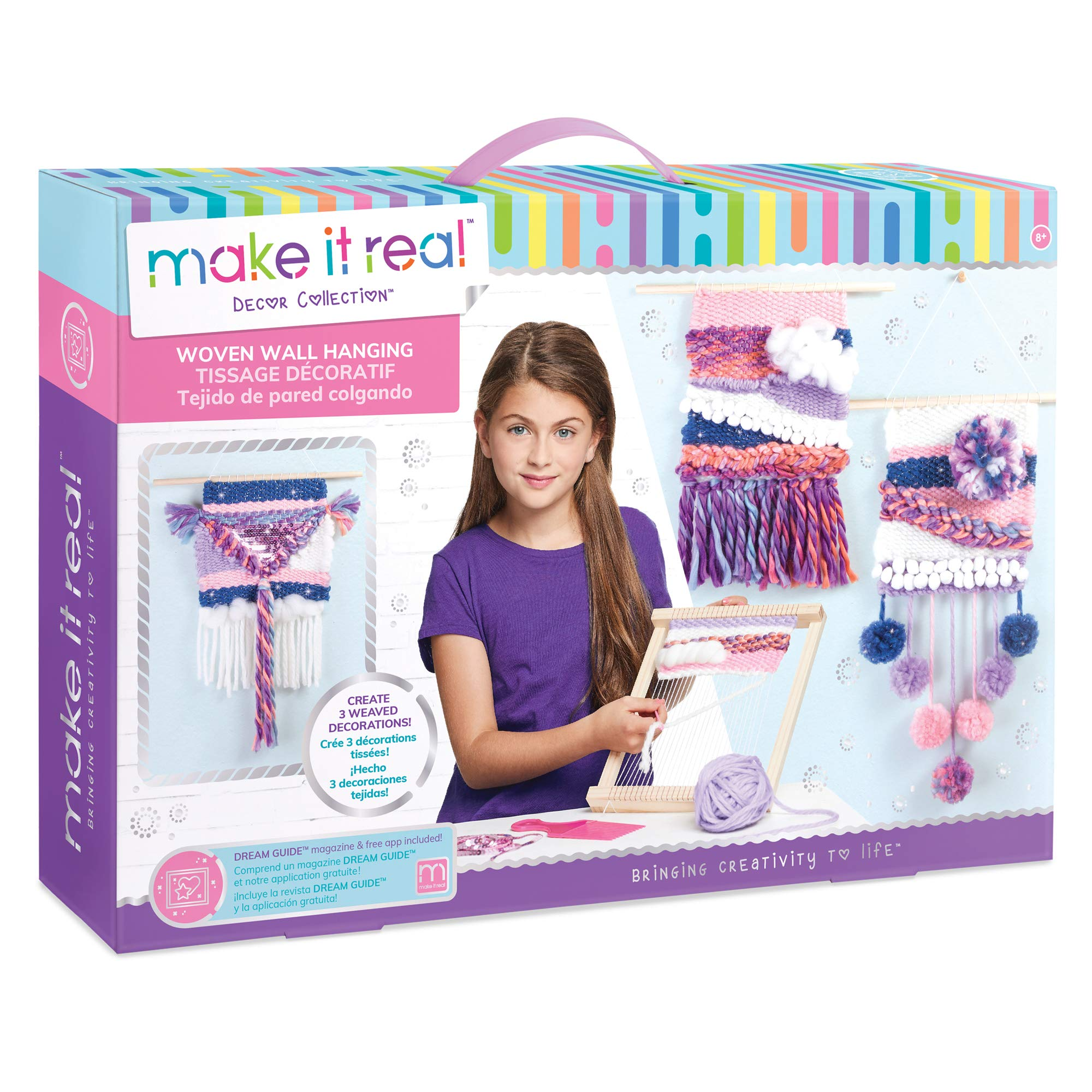 Make It Real - Woven Wall Hanging. Arts and Crafts Kit for Girls Guides Tweens to Weave Their Own Wall Art. Includes Materials for Three Beautiful Hanging Woven Wall Art Pieces