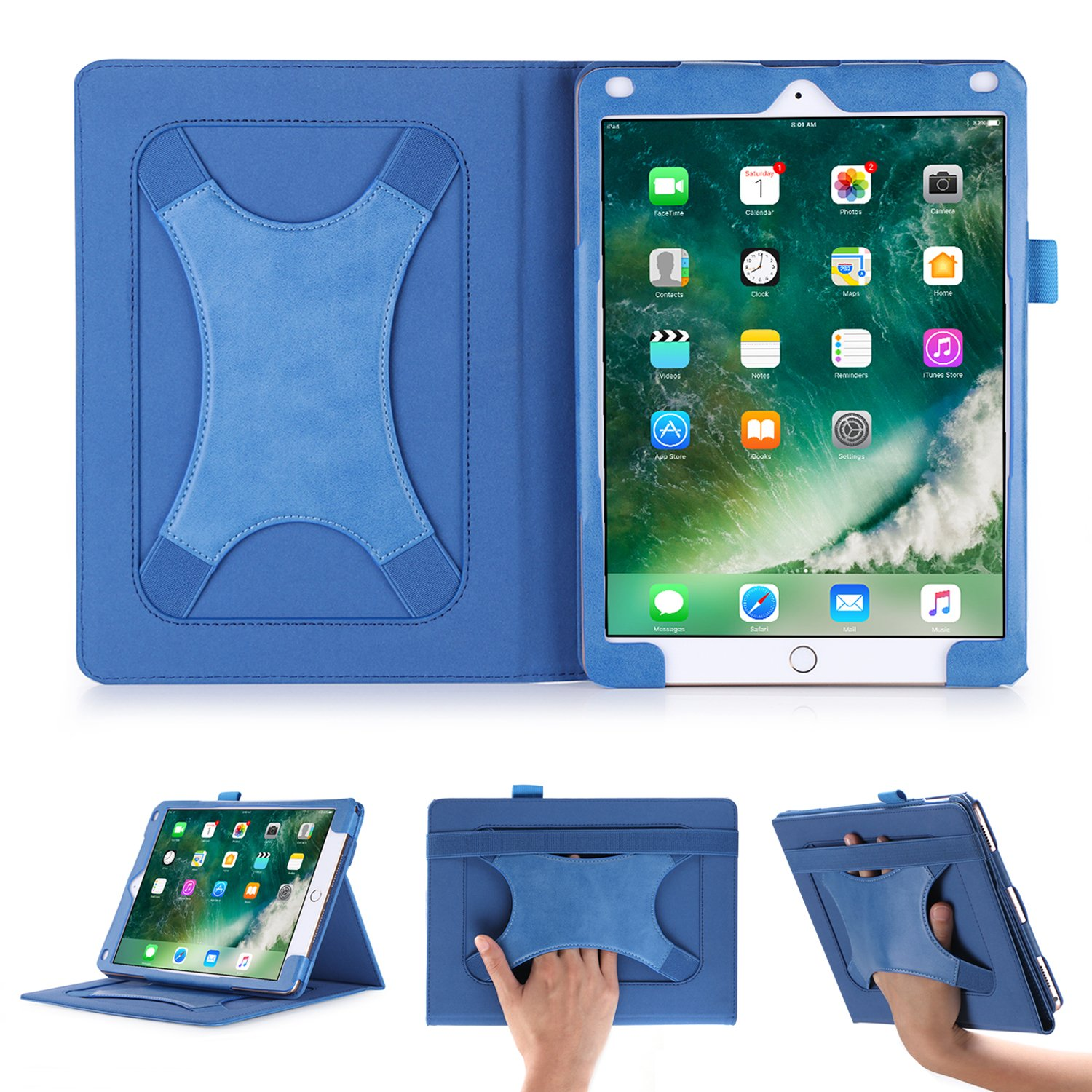 Beepole Pro 10.5 Case with Multi Angle Support Xband Enhanced Hand Strap - PU Leather Case Cover for New iPad Pro 10.5 Inch 2017 with Magnetic Auto Wake/Sleep Feature (Blue)